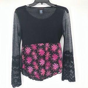Custo Barcelona | Black Sheer Top w/ Pink Flowers